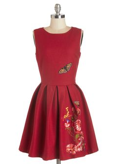 Garden Dreaming Dress in Red. Its the loveliest of afternoons to gather with friends, and youre glad you wore this wool-blend dress by Nishe. #red #modcloth