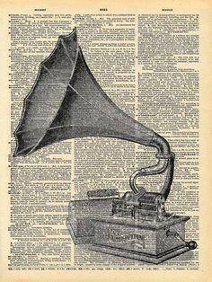 victorian Art | Antique Gramophone Book Art Print - Victorian Steampunk Art - Vintage ...
