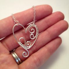 wire wrapped spiral heart pendant - handmade heart necklace (3)