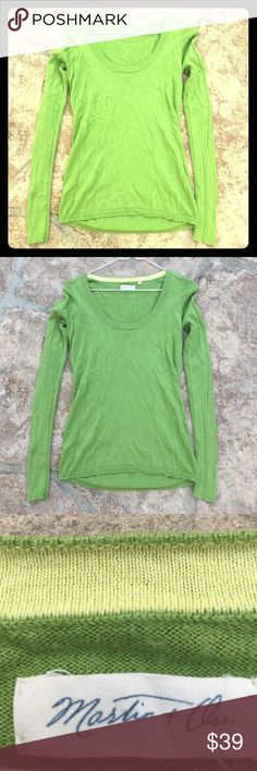 Apple Green wide neck thin sweater Excellent condition Martin + Osa Sweaters Crew & Scoop Necks