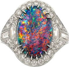 Opal, Diamond, Platinum Ring