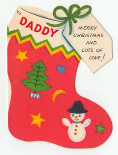 Vintage Greeting Card Christmas Die-Cut Flocked Stocking Snowman  Gibson L24