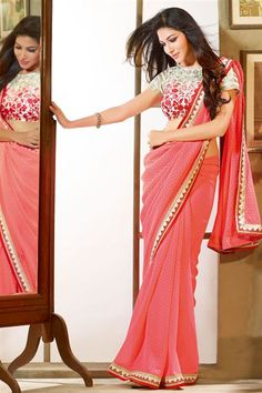 Tomato Red Georgette Designer Saree with Lace Border