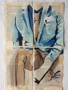 Fashion illustration on Sherlock Holmes book pages