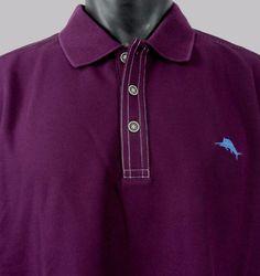 NWT Tommy Bahama Emfielder Polo Shirt Men's M Purple Rum Berry Wicks Moisture #TommyBahama #PoloRugby