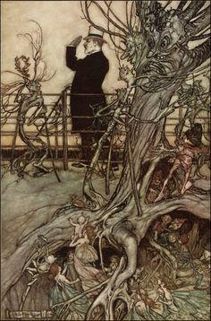 Arthur Rackham  ~ The Kensington Gardens are in London   ~ Peter Pan in Kensington Gardens  by J. M. Barrie ~ 1906