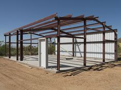 Steel Structure is done! Metal Building House Plans, Steel Building Homes, Building A Pole Barn, Metal Shop Building, Pole Barn House Plans, Metal Garage Buildings, Steel Structure Buildings, Metal Barn Homes, Pole Barn Homes