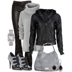 Change leather pants to skinny jeans or leggings & this outfit would b extra cute & Change the turtle neck to a vintage tee (: