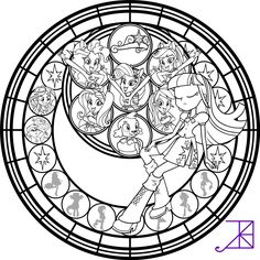 Equestria Girls Stained Glass Coloring Page by Akili-Amethyst.deviantart.com on @deviantART