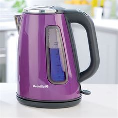 Breville Damson S/S Kettle - Stainless steel damson jug kettle. Features: 1.7 litre capacity, 3kW fast boil element, removable washable lime scale filter, water gauge with blue illumination on boil, push button hinged lid and a 360° base with cord storage.    Manufacturer's 12 month guarantee.    £29.95 + P UK delivery only