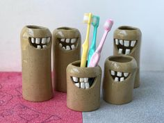 Made to order whimsical toothbrush holder, funny toothbrush ceramic cup, cute ceramic bath decors whimsical toothbrush holder funny toothbrush ceramic cup image 0 Ceramic Cups, Ceramic Pottery, Pottery Art, Ceramic Art, Ceramics Projects, Clay Projects, Clay Crafts, Diy Fimo, Ceramic Sculpture Figurative