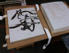 A part of the archive being stored: sketches from the series 'Vocals By'. Archive, Paper
