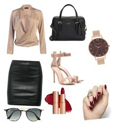 """""""outfit for work"""" by indrianissolihah ❤ liked on Polyvore featuring The Row, Gianvito Rossi, Kate Spade, Olivia Burton and Ray-Ban"""