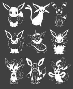 Eeveeloutions Vinyl Decal Set Eevee Evolutions Vaporeon Jolteon Flareon Umbreon Espeon Leafeon Glaceon Sylveon