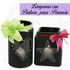 Frasco con pinturea para pizarrón / Velas / Lámparas / rosa, negro, verde