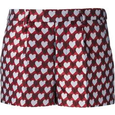 Red Valentino Heart Print Shorts (1.125 BRL) ❤ liked on Polyvore featuring shorts, bottoms, pants, red, red valentino and red shorts