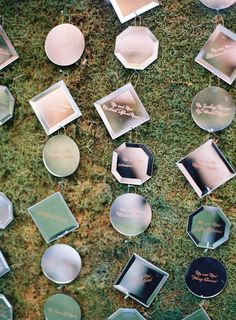 miniature mirror placecards for wedding reception