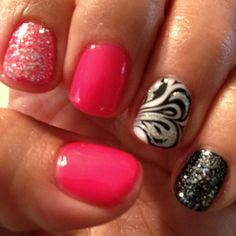 Fun nails with shellac. Love the black and white swirl.