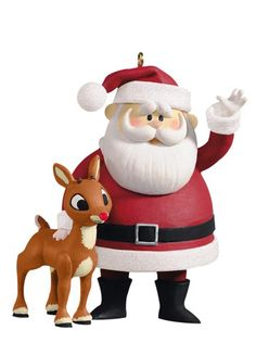"Hallmark Keepsake Ornament Rudolph the Red-Nosed Reindeer ""Won't You Guide My Sleigh Tonight?"" Rudolph & Santa (2012)"
