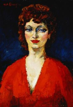 Head of a Young Woman; Tete de Jeune Femme. Kees van Dongen (1877-1968). Oil on canvas. 55.2 x 38.1cm. : Stock Photo
