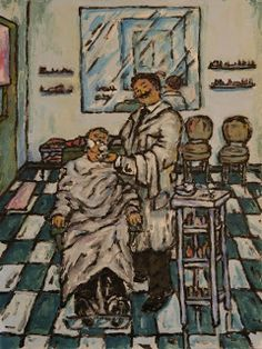 Miguel Pínter.Escritura acrilica: Una barberia con bata.
