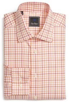 Orange, white, and pink, checkered men's button-up