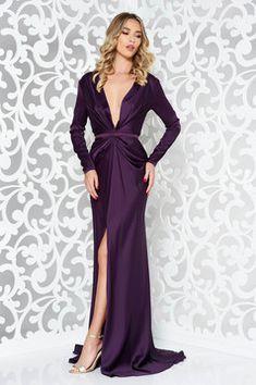 Ana Radu purple occasional long mermaid dress with tented cut Long Mermaid Dress, Mermaid Dresses, Dress Cuts, Suits You, Size Clothing, Dress Outfits, Evening Dresses, Curvy, Satin