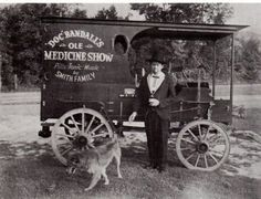 Snake Oils and other oddities were showcased in traveling medicine shows, trying to be sold by salesmen-doctors-auctioneers. This is a typical wagon that would have travelled in the shows.