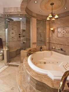 Cool Bathroom Designs for Apartments and Modern Homes: Traditional Dream Bathroom Design In A Apartment With Chandelier And Luxury Interior ~ articature.com Apartment Inspiration