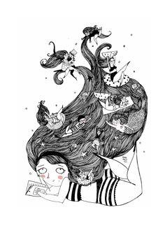 "#ElementEdenArtSearch ""Summer Dreams"" (Ink on paper)"