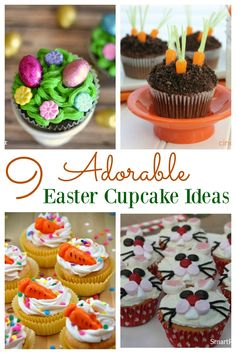 Easy Easter cupcake ideas for kids. They are all super cute and simple to make w. Easy Easter cupcake ideas for kids. They are all super cute and simple to make which makes them perfect for Easter e Oster Cupcakes, Mocha Cupcakes, Gourmet Cupcakes, Strawberry Cupcakes, Velvet Cupcakes, Flower Cupcakes, Vanilla Cupcakes, Mini Cakes, Cupcake Cakes