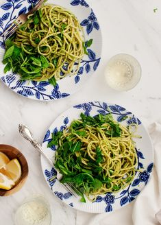 A fast and easy vegetarian weeknight dinner made with tangy pesto and peppery arugula. So simple yet delicious. Vegan and Gluten Free options.
