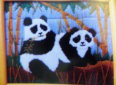 Vintage Crewel Embroidery Kit, Peking Pandas, Rochelle Groonis Persian Wool Yarns, Creative Circle 1425 Vintage Needlecraft Kit, Panda Bears by CatBazaar on Etsy