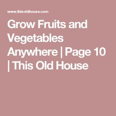 Grow Fruits and Vegetables Anywhere | Page 10 | This Old House