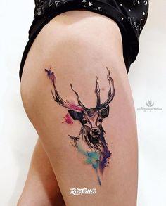 Deer Tattoo on thigh new school of Viktoriya Toropova - deer Tatt. - Deer Tattoo on thigh new school of Viktoriya Toropova – deer Tattoo on thigh new school of Viktori - Girl Thigh Tattoos, Leg Tattoos, Body Art Tattoos, Small Tattoos, Sleeve Tattoos, Tattoo Thigh, Deer Antler Tattoos, Deer Head Tattoo, Dragon Tattoo For Women