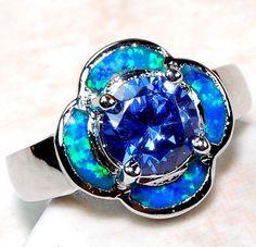 Tanzanite Australian Opal 925 Solid Sterling Silver Ring Sz 7   eBay