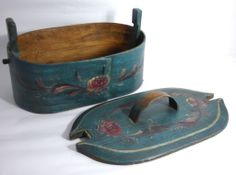 Early Norwegian Hand Painted Rosemaled Bentwood Tine Box – Mid/Late 1800's