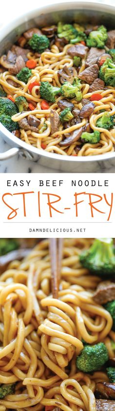Beef Noodle Stir Fry - The easiest stir fry ever! And you can add in your favorite veggies, making this to be the perfect clean-out-the-fridge type meal! Such a delicious, easy, and healthy dinner recipe! Beef Noodle Stir Fry, Beef And Noodles, Asian Noodles, Stir Fry Sauce For Beef, Stir Fry Udon Noodles, Asian Beef Stir Fry, Stir Fry For One, Teriyaki Beef Stir Fry, Quinoa Noodles