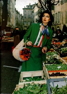 Christian Dior Boutique, L'Officiel magazine 1977 vintage fashion style 70s green suit circus print stripe shirt red white green designer couture ad model magazine