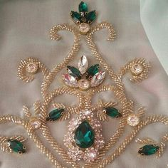 Crystal Embroidery, Zardozi Embroidery, Tambour Embroidery, Hand Work Embroidery, Couture Embroidery, Embroidery Fabric, Embroidery Fashion, Embroidery Neck Designs, Bead Embroidery Patterns