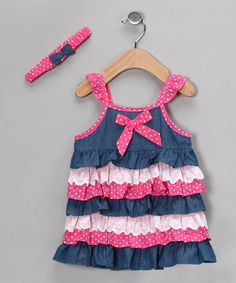 Take a look at this Pink & Blue Ruffle Dress & Headband - Toddler & Girls by Chit-Chat on #zulily today!