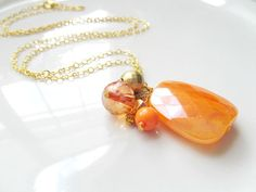 Long Orange and Gold Chain Beaded Cluster Necklace - Long Bright Boho Necklace by Katya Valera