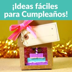 Idea de regalo: bonita caja cumpleañera personalizable – Happy Box Birthday gift ideas you can make yourself. Crafts for gifts that you will love. // DIY Birthday gift ideas you can make. Wine Bottle Crafts, Jar Crafts, Diy And Crafts, Crafts For Kids, Kids Diy, Creative Crafts, Creative Ideas, Pot Mason Diy, Birthday Diy