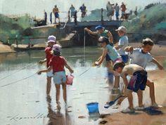 Crabbing from the bridge - Raymond Leech - Southwold Gallery