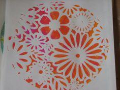 Dina Wakley Acrylics & Circle Gelli Plate Example 4