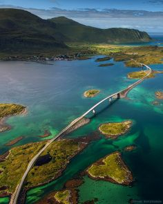 The Fredvang Bridges in Lofoten Island Archipelago, Norway: The world's largest deepwater coral reef in the Lofoten Islands, an archipelago off the coast of Norway that lies within the Arctic circle. It's home to wildlife like otters, moose, puffins, and more.