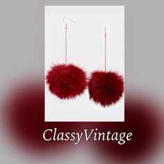 Burgundy fur earrings Real rabbit fur. 2 inch drop and burgundy in color. 1/26 arrival Boutique Jewelry Earrings