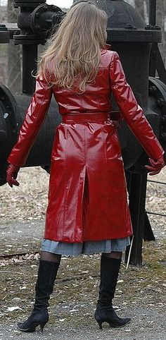 Red Raincoat, Vinyl Raincoat, Double Breasted, Button Up, Capes, Leather Jacket, Unisex, Sexy, Rear View