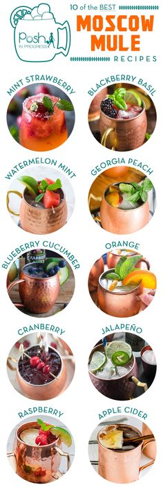 are 10 of the Best Moscow Mule Recipes Have you ever heard of a Moscow Mule? It's a mix of ginger beer and any variety of alcohol and flavorings Here some yummy looking recipes I would like to try.Yummy Yummy may refer to: Summer Cocktails, Cocktail Drinks, Cocktail Recipes, Alcoholic Drinks, Beverages, Liquor Drinks, Craft Cocktails, Fancy Drinks, Yummy Drinks