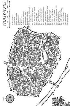 """Mapa de Cohayalena (Thaledia - Ridia), El Segundo Ocaso - de """"Entre las dos orillas"""". Podéis ver más aquí: http://elsegundoocaso.blogspot.com.es/p/los-mapas-originales-que-acompanan-las.html"""